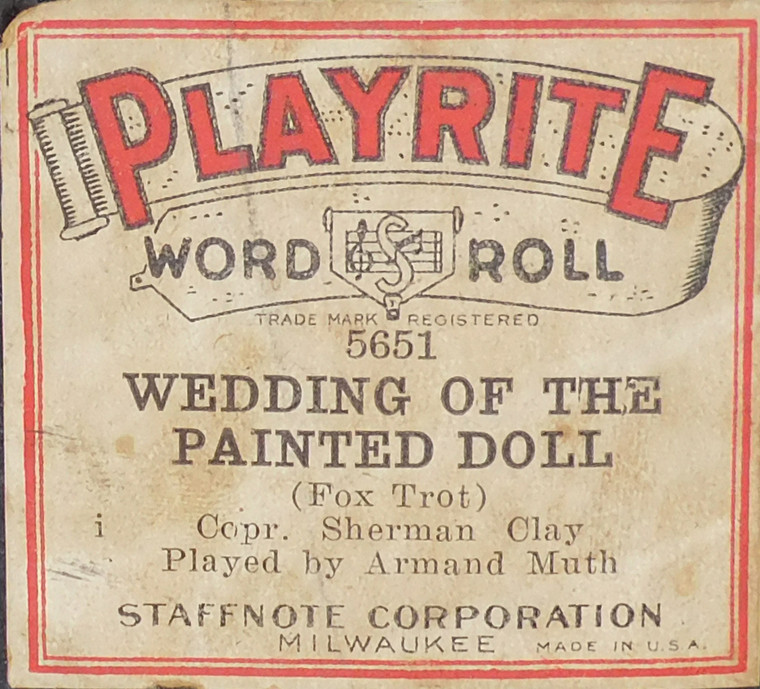Wedding of the Painted Doll (#5651 Playrite Word Roll) - Player Piano Roll