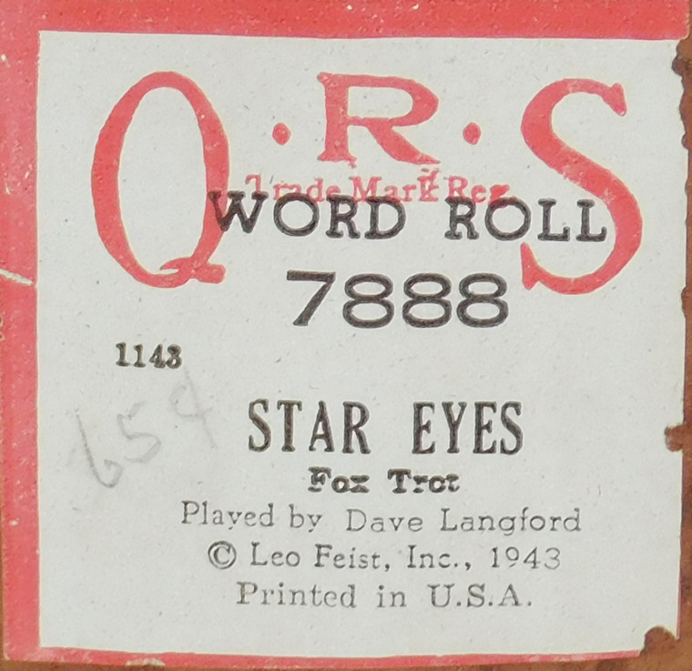 Star Eyes (#7888 QRS Word Roll) - Player Piano Roll