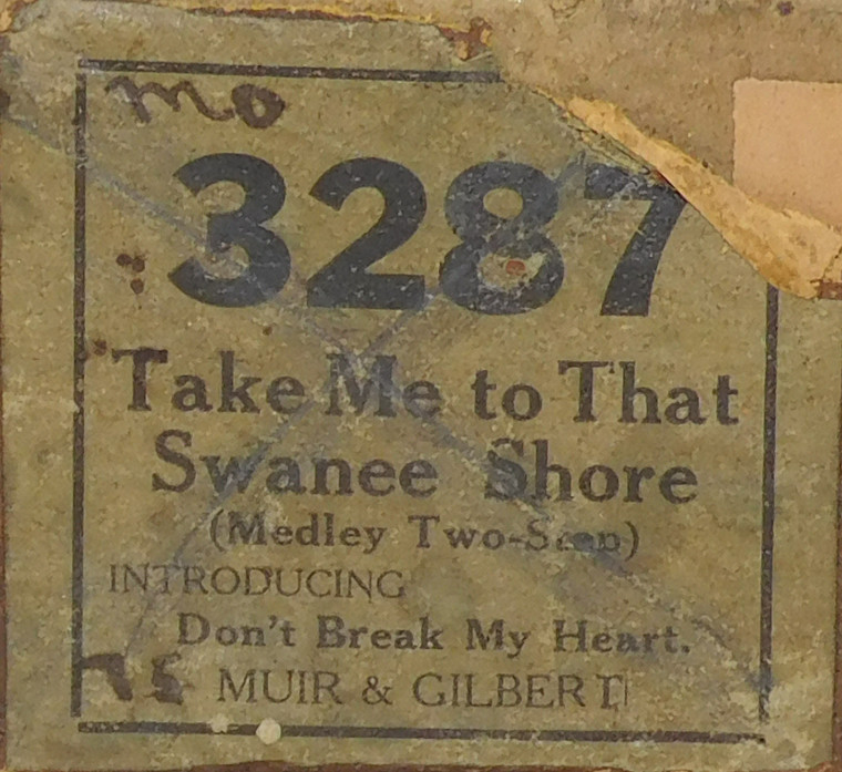 Take Me to That Swanee Shore (#3287) - Player Piano Roll