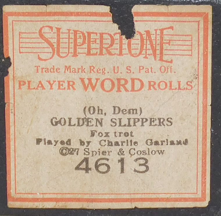 Oh, Dem Golden Slippers (#4613 Supertone Word Roll) - Player Piano Roll