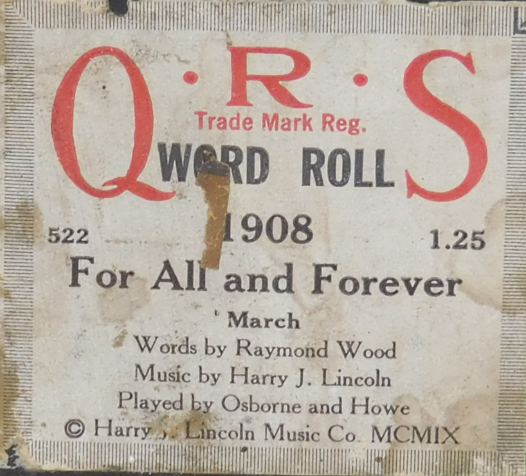 For All and Forever (#1908 QRS Word Roll) - Player Piano Roll