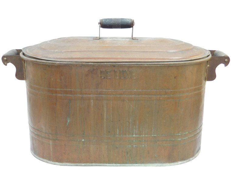 Antique Signed DELUXE Brand Copper Boiler Wash Tub Canner w/ Copper Lid