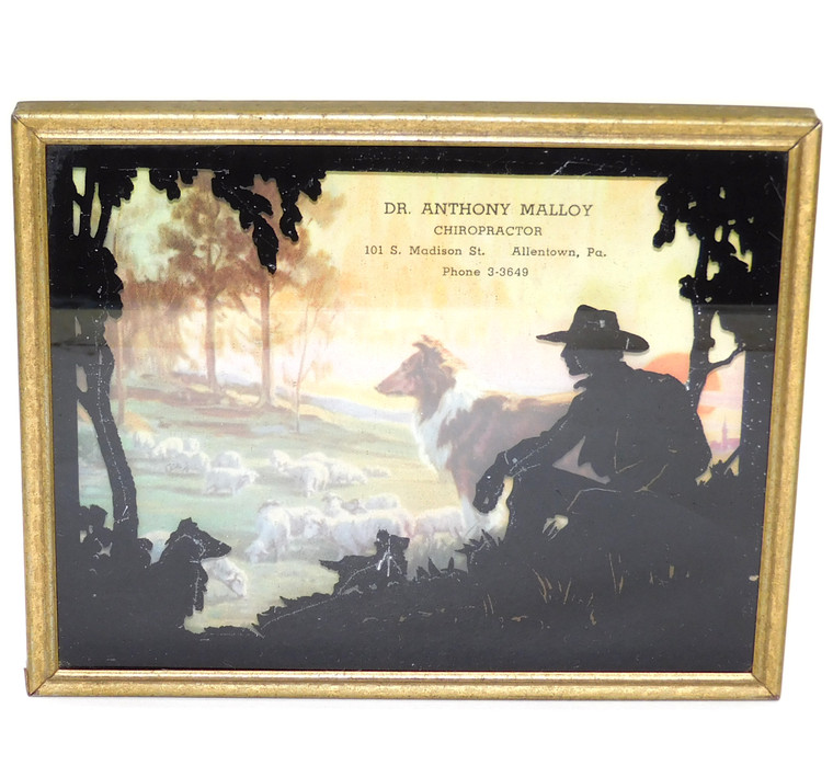 Vintage Collie Sheep Dog Print Cowboy Silhouette Dr. Anthony Malloy Allentown PA