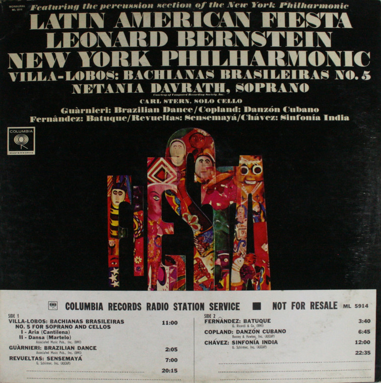 New York Philharmonic: Latin American Fiesta - Promo LP Vinyl Record Album