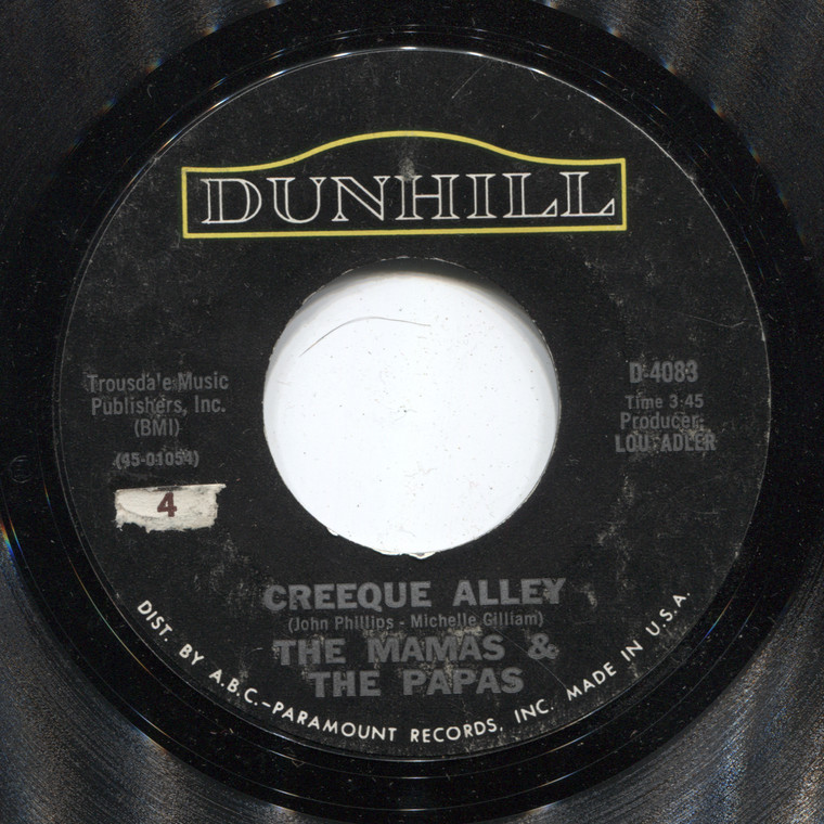 The Mamas & the Papas: Creeque Alley / Did You Ever Want to Cry - 45 rpm Vinyl Record