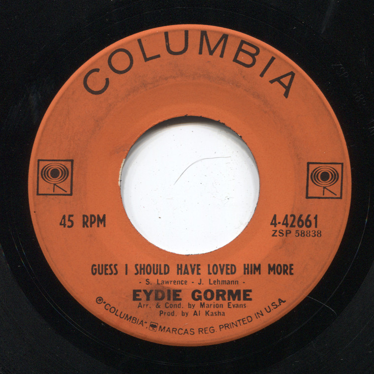 Eydie Gorme: Guess I Should Have Loved Him More / Blame It on the Bossa Nova - 45 rpm Vinyl Record