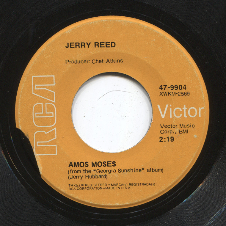Jerry Reed: Amos Moses / The Preacher and the Bear - 45 rpm Vinyl Record