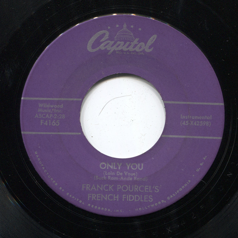 Franck Pourcel's French Fiddles: Only You / Rainy Night in Paris - 45 rpm Vinyl Record