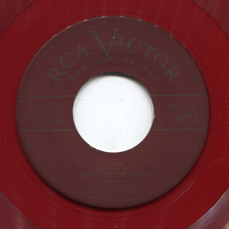 Boston Pops Orchestra: Dance of the Hours (Part 1 & 2) - Red Vinyl 45 rpm Vinyl Record