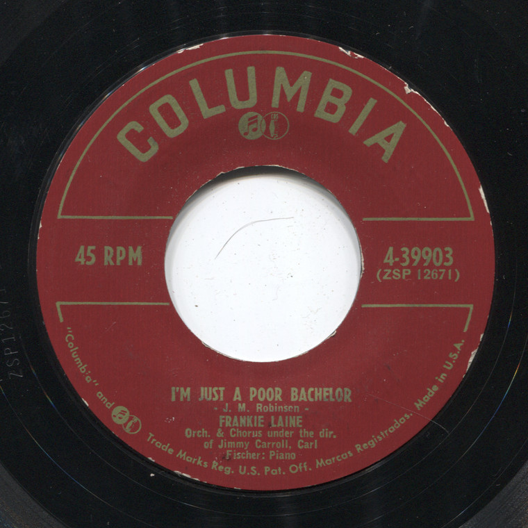 Frankie Laine: I'm Just a Poor Bachelor / Tonight You Belong to Me - 45 rpm Vinyl Record