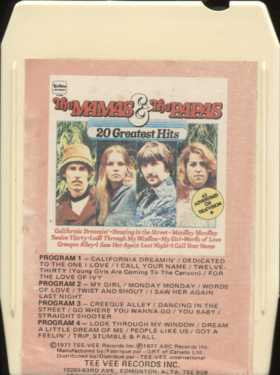 The Mamas & the Papas: The Best of the Mamas & Papas, 20 Great Hits - Vintage 8 Track Tape