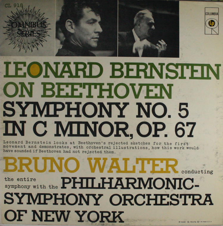 Philharmonic Symphony of New York: Leonard Bernstein / Bruno Walter On Beethoven -  LP Vinyl Record Album