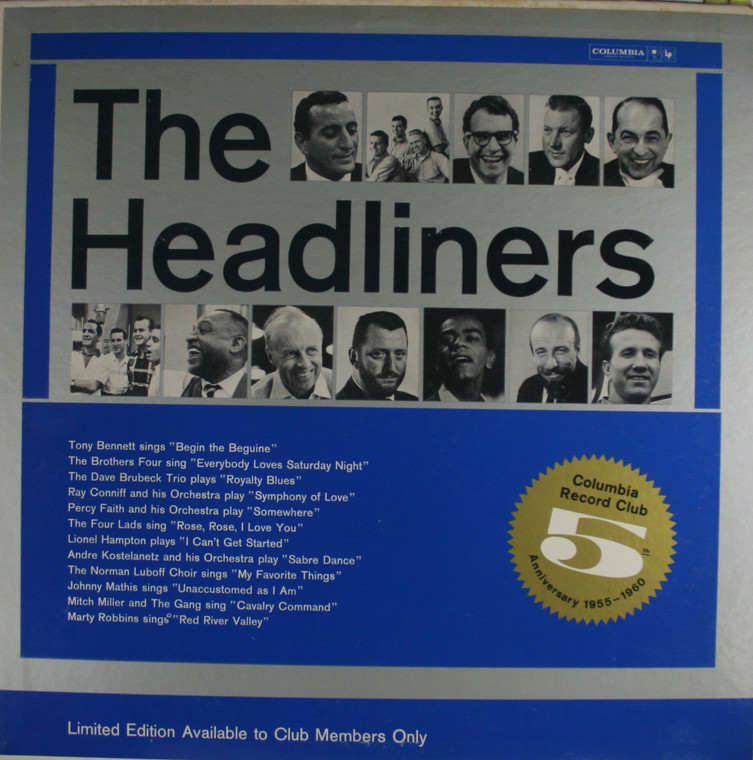 Various Artists: The Headliners, 5th Anniversary Columbia Record Club - LP Vinyl Record Album