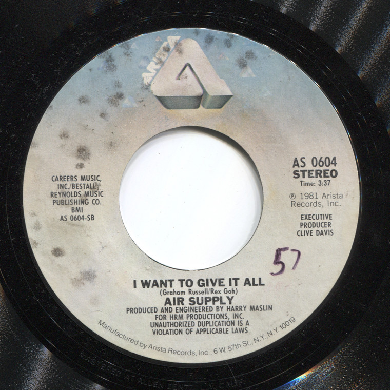 Air Supply: I Want to Give It All / The One That You Love - 45 rpm Vinyl Record