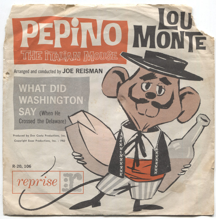 Lou Monte: Pepino the Italian Mouse / What Did Washington Say - 45 rpm Vinyl Record & Picture Sleeve