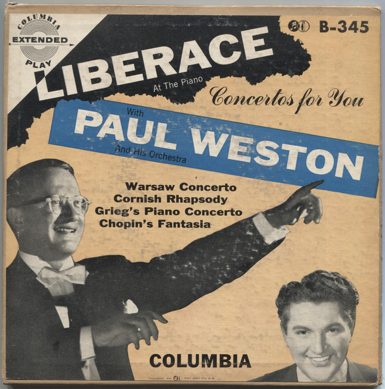 """Liberace & Paul Weston: Concertos for You - (2 Record Set) 7"""" EP 45 rpm Vinyl Record & Picture Sleeve"""