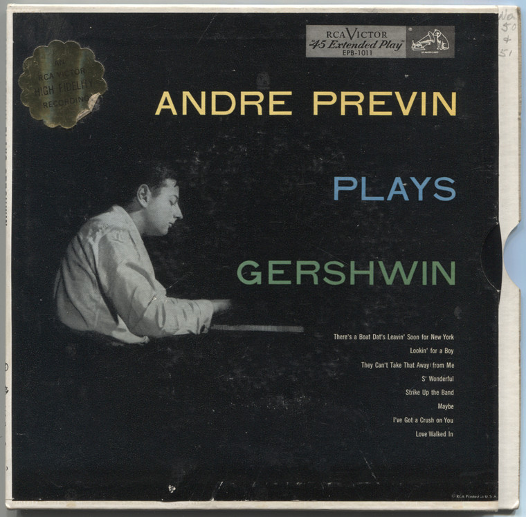 "Andre Previn: Plays Gershwin - (2 Record Set) 7"" EP 45 rpm Vinyl Record & Picture Sleeve"