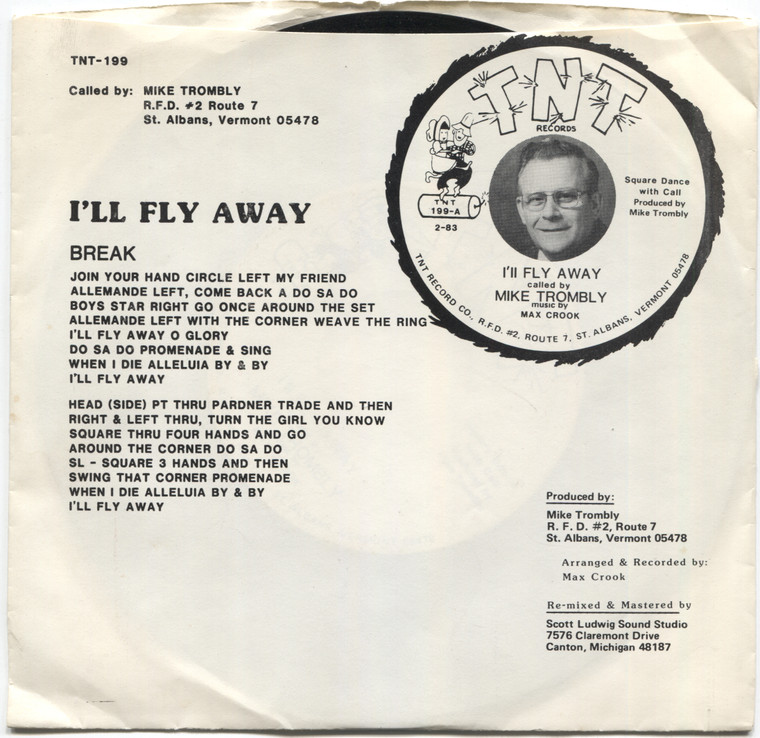 Max Crook / Mike Trombly: I'll Fly Away - Square Dance w/ Calls 45 rpm Vinyl Record & Picture Sleeve