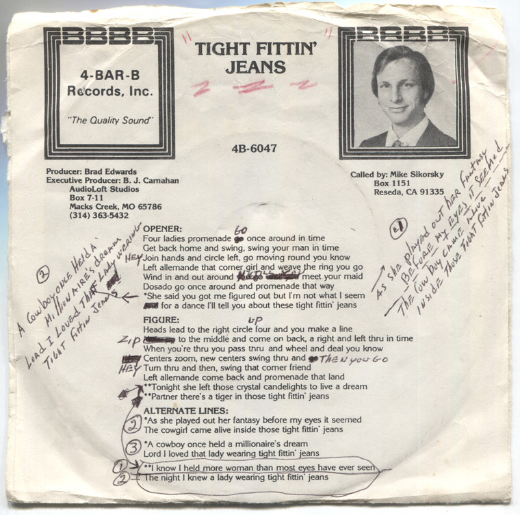 Mike Sikorsky / The Bradsmen: Tight Fittin' Jeans - Square Dance w/ Calls 45 rpm Vinyl Record & Picture Sleeve
