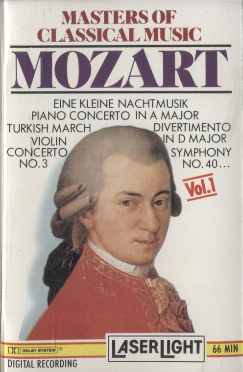 Various Artists: Masters of Classical Music, Volume 1, Mozart - Vintage Audio Cassette Tape