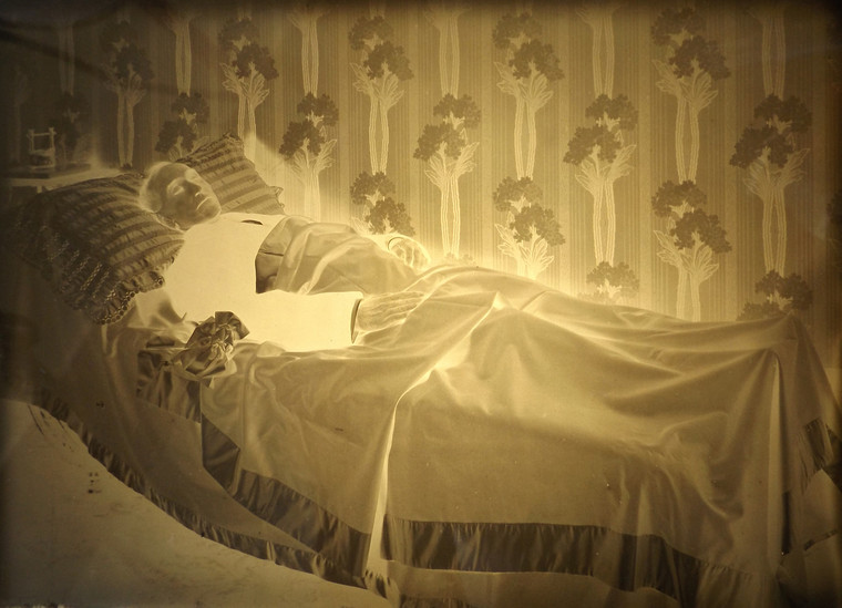 Early 1900's Post Mortem Photograph of Man in Bed Glass Negative
