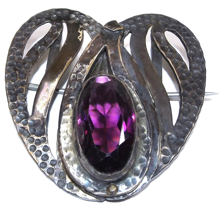 Large Antique Hammered Art Nouveau Heart Shaped Brooch Pin w/ Amethyst Glass Stone