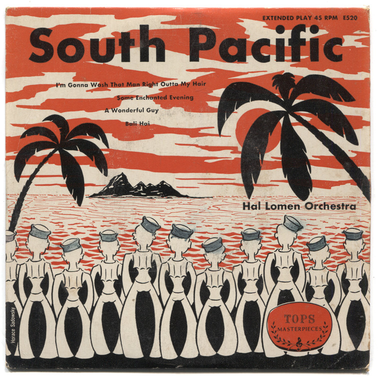 """Hal Lomen Orchestra: South Pacific - Red Vinyl 7"""" EP 45 rpm Record"""