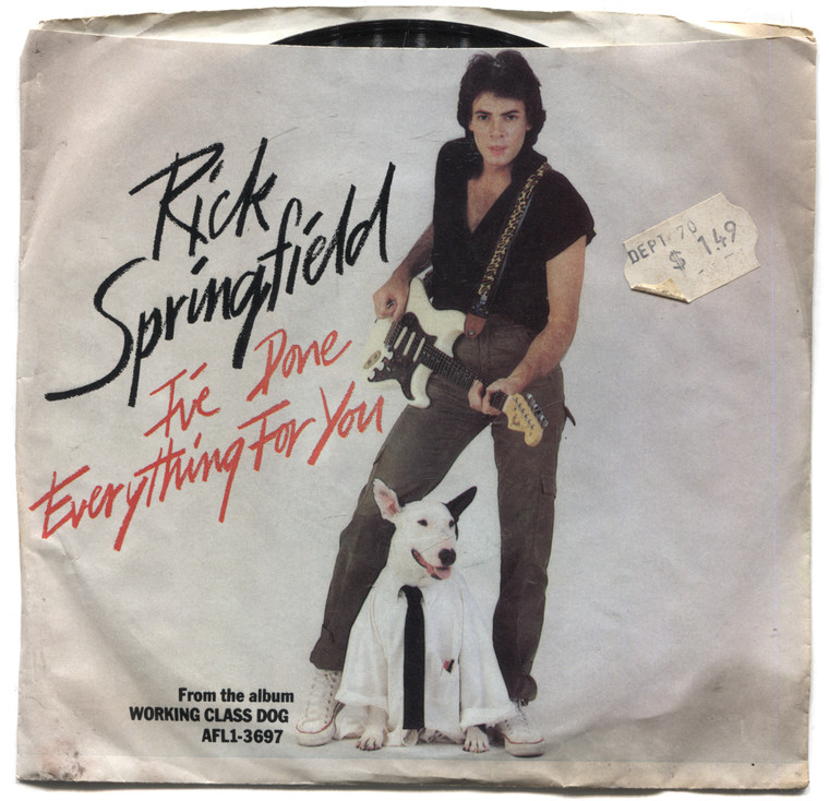 """Rick Springfield: Red Hot and Blue Love / I've Done Everything for You - 7"""" 45 rpm Vinyl Record & Picture Sleeve"""