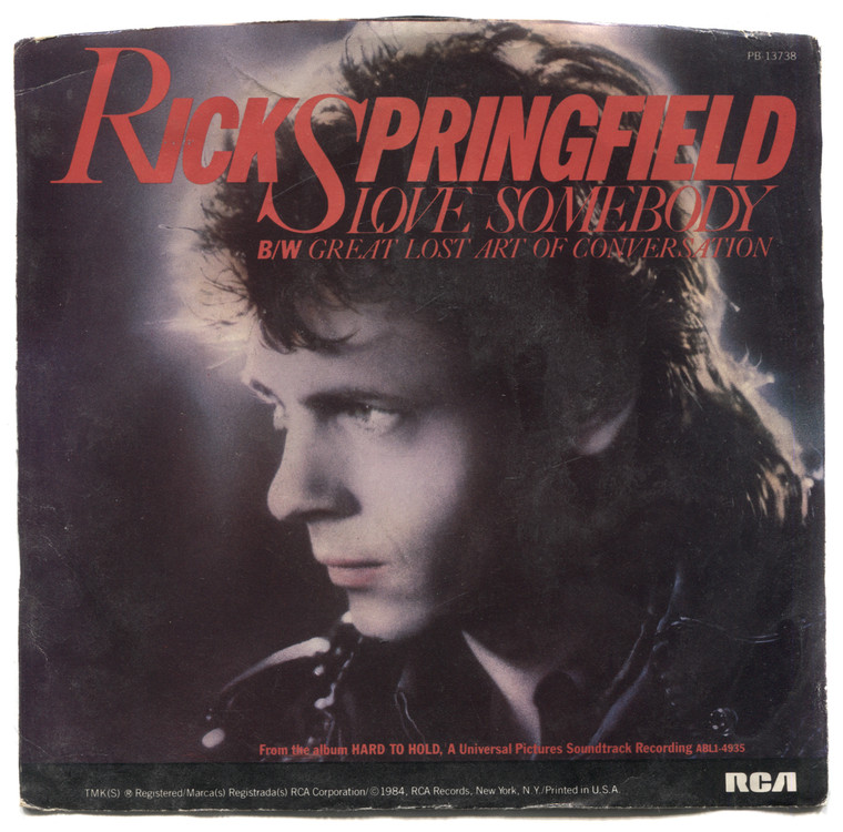 """Rick Springfield: Love Somebody / The Great Lost Art of Conversation - 7"""" 45 rpm Vinyl Record & Picture Sleeve"""
