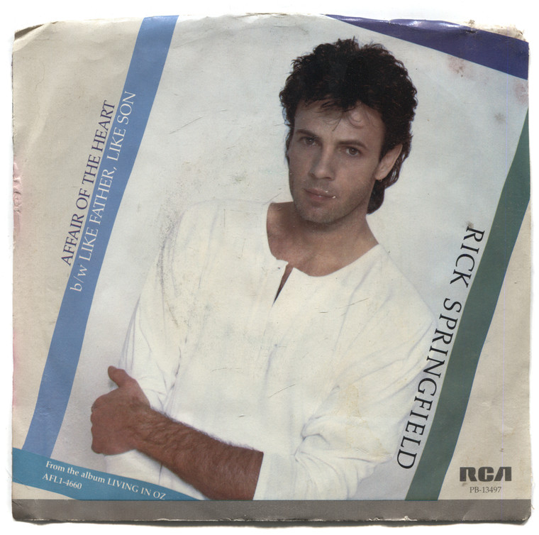 """Rick Springfield: Like Father, Like Son / Affair of the Heart - 7"""" 45 rpm Vinyl Record & Picture Sleeve"""