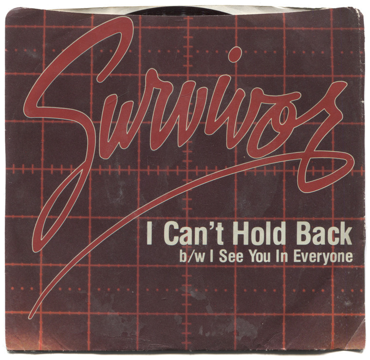 """Survivor: I Can't Hold Back / I See You in Everyone - 7"""" 45 rpm Vinyl Record & Picture Sleeve"""