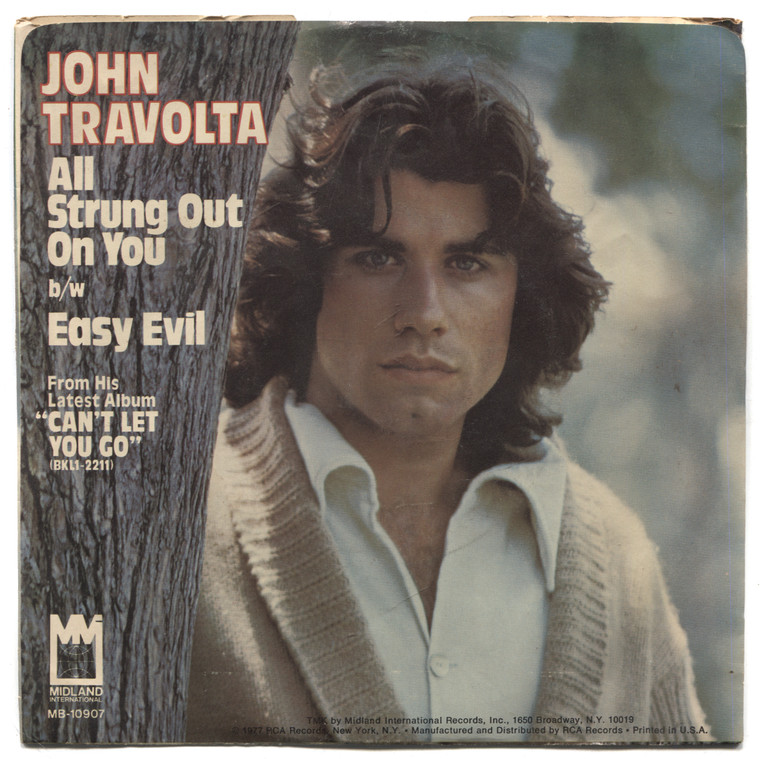 """John Travolta: Easy Evil / All Strung Out on You - 7"""" 45 rpm Vinyl Record & Picture Sleeve"""