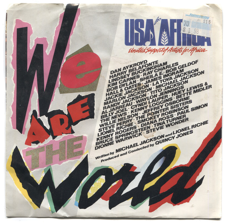 """Quincy Jones: Grace / We are the World: USA for Africa - 7"""" 45 rpm Vinyl Record & Picture Sleeve"""