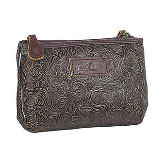 3D Belt Tooled Two Pocket Travel Bag Medium Brown