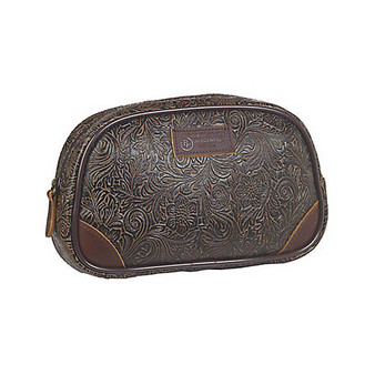 3D Belt Tooled Rounded Travel Bag Large Brown