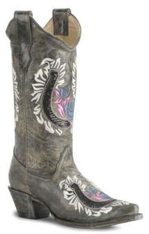 Corral Black Snip Toe with Embellished Horse Shoe