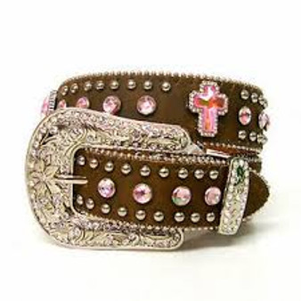 Leather with Silver Rivets, Pink Stones, and Pink Cross Conchos, Width 1 1/4""