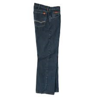 Wrangler flame resistant relaxed fit jeans, that feature authentic five pocket styling.    Styling: Classic Five Pocket  Fit: Relaxed  Rise: Mid  Front Closure Type: Zipper fly with button closure  Leg Opening: Fits over boot  Fabric: 100% Cotton Ripstop Fabric, 10.25 oz.  Care: Machine Wash