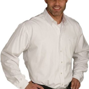 Cinch Solid White Long Sleeve Button Shirt