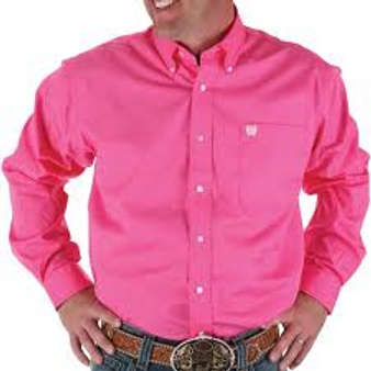 Cinch Solid Pink Long Sleeve Button Shirt