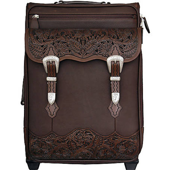 3D Belt Embossed Carry-On Luggage Brown