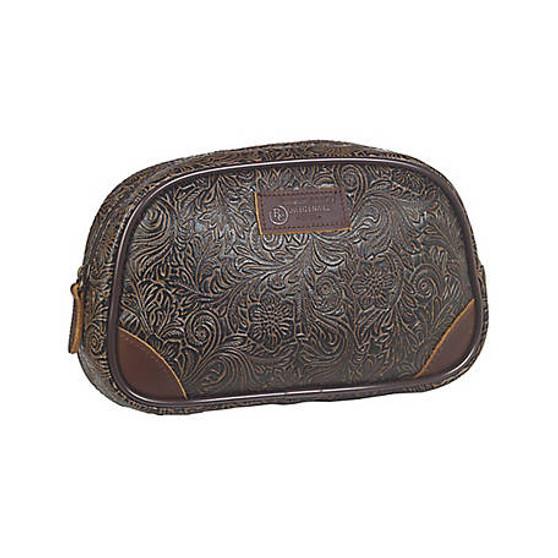 3D Belt Tooled Rounded Travel Bag Large Brown