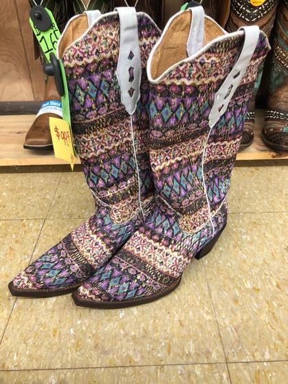 Tanner Mark Ladies Purple Multi Color Snip Toe