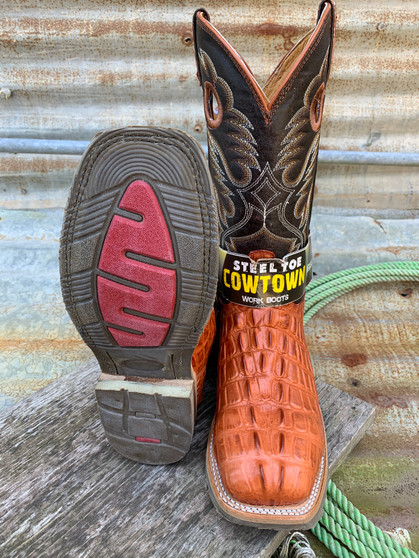 Cow Town Steel Toe Gator Tail Work Boots