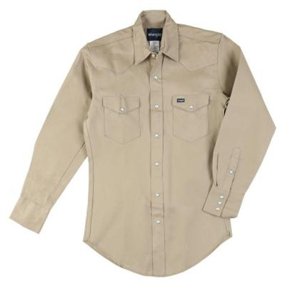 """100% Cotton, 7.25 oz. Solid Twill •Authentic Western front and back yokes •Two authentic Western spade flap pockets with snap closures •Spread collar •Pencil slot on left pocket •Branded with Wrangler® """"W"""" logo •Western three snap cuff, with one snap sleeve placket"""