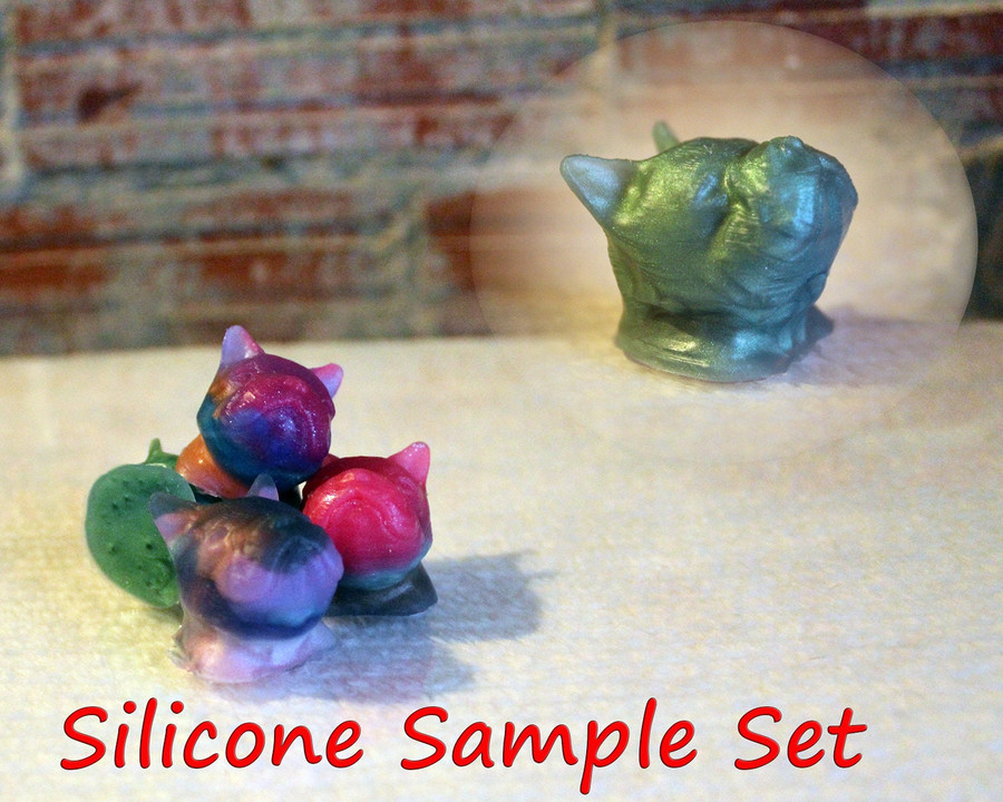 Silicone Sample Set - 4 - Frenchie Heads - Set of 4 Random color selections - 0000