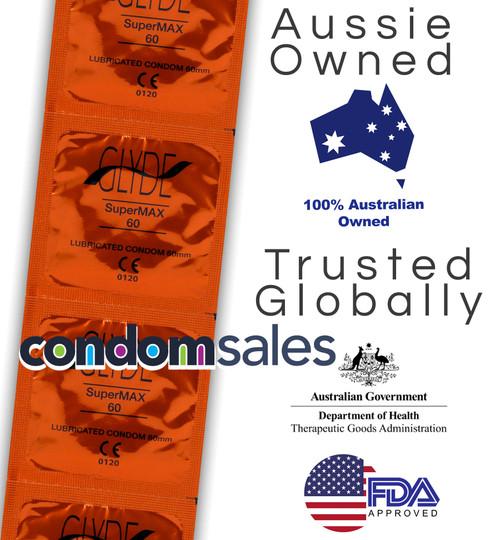 Glyde SuperMax XXL Large 60mm Condoms 100 Bulk  - Buy Bulk Condoms Online