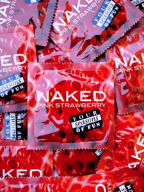 Four Seasons Naked Pink Strawberry Condoms  - Buy Condoms Online