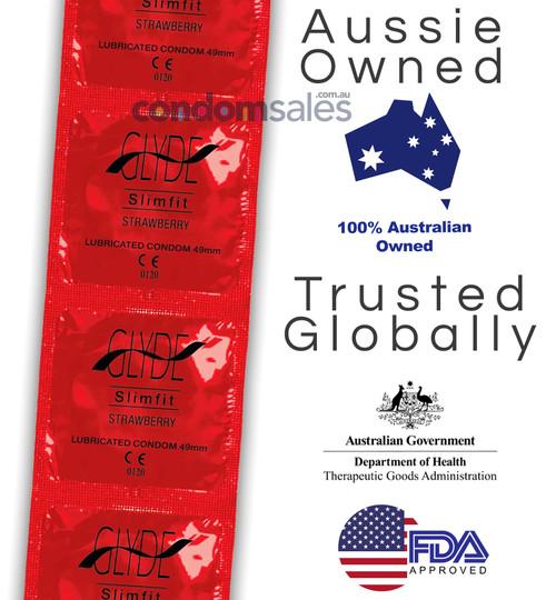 Glyde Slim Fit Strawberry Condoms - Buy Condoms Online