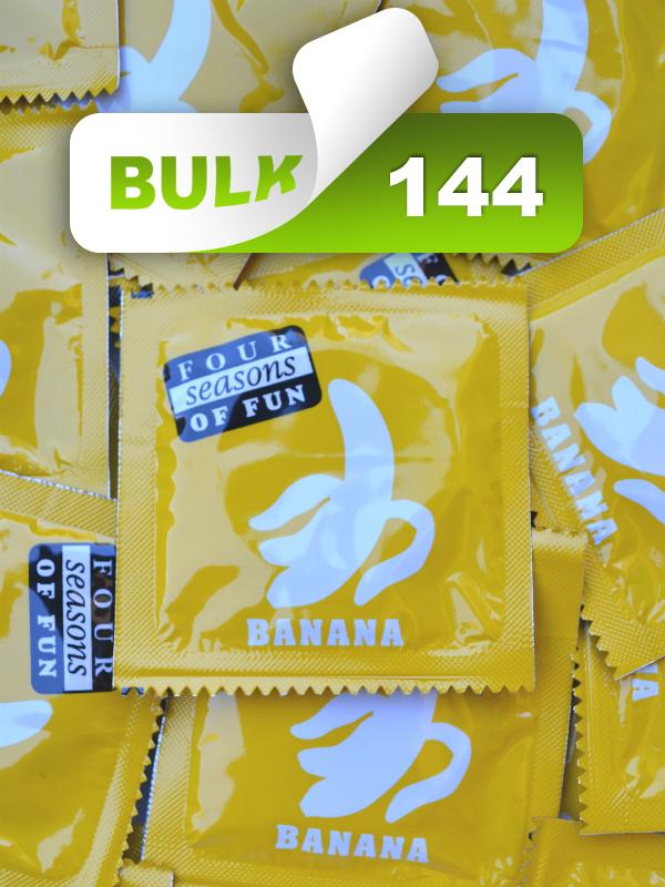 Four Seasons Yellow Banana 54 Condoms (144 Bulk)  - Buy Bulk Condoms Online